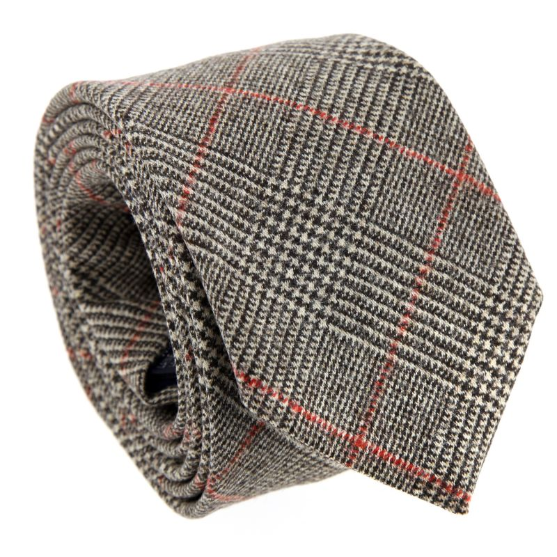 Beige Prince of Wales Check Wool and Cashmere The Nines Tie