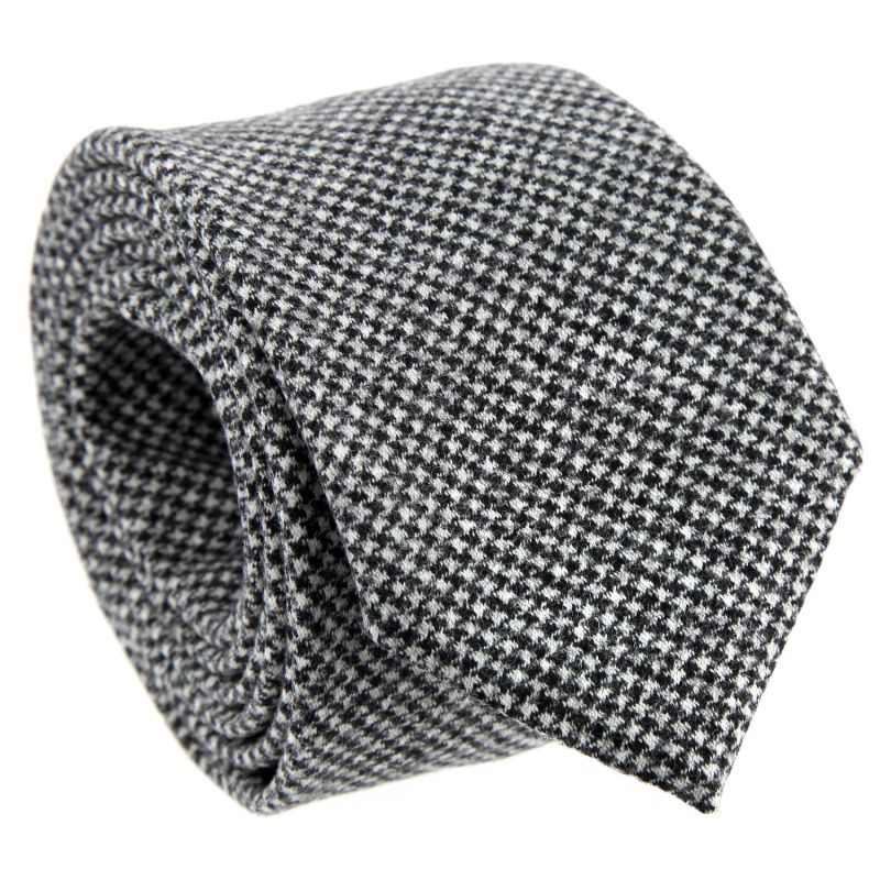 Wool and Cashmere The Nines Tie with Houndstooth Pattern