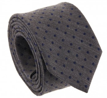 Brown with Navy Blue Dots The Nines Silk and Wool Tie