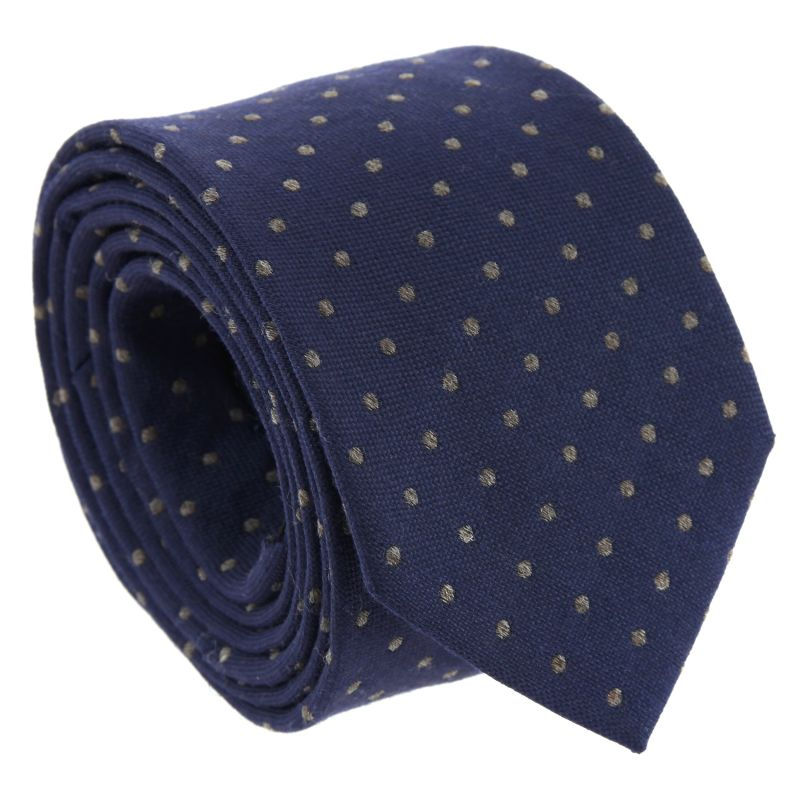 Navy Blue with Grey Dots The Nines Silk and Wool Tie
