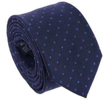 Navy Blue with Blue Dots The Nines Silk and Wool Tie