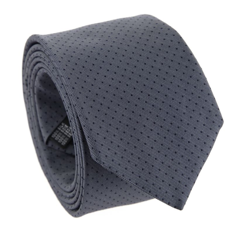 Grey with Navy Blue Dots The Nines Tie