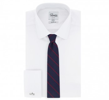 Navy Blue and Raspberry Striped The Nines Tie