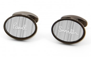 Paul Smith Cufflinks - Oval Logo gunmetal