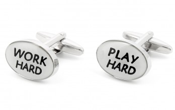 Quote cufflinks - Work Hard Play Hard