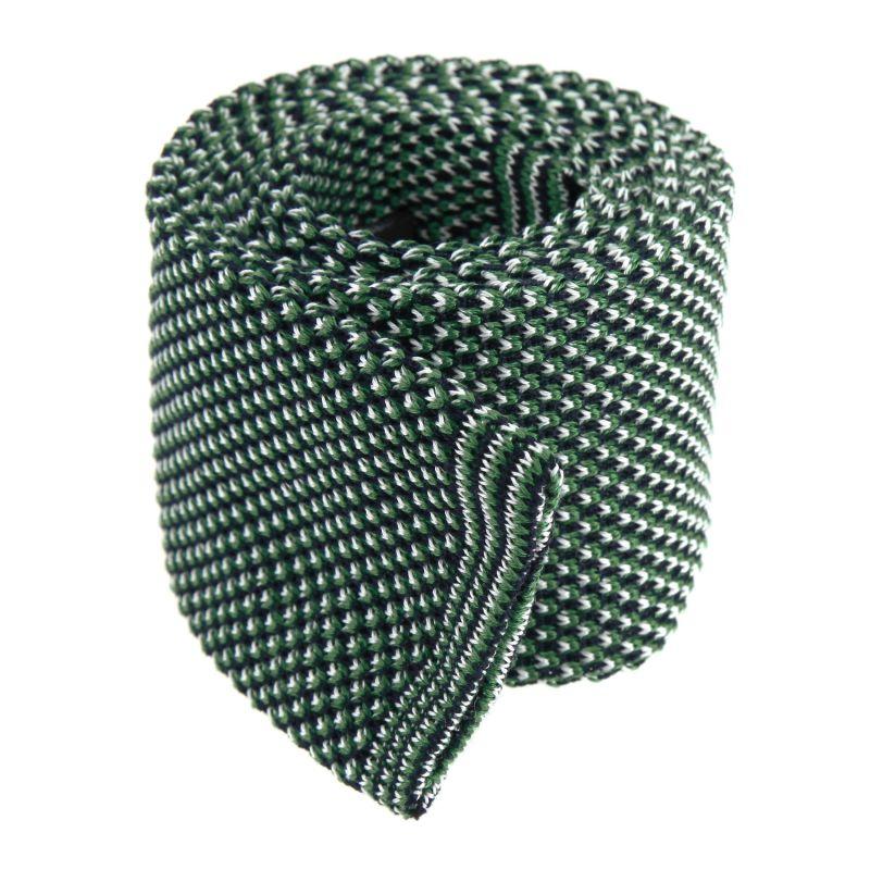 green Knitted Wool Tie with Pattern- Tortona II - mens necktie online