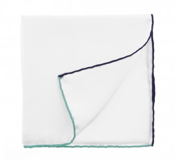 White Pocket Square With Aqua Green and Navy Blue Hemlines - Saint-Tropez
