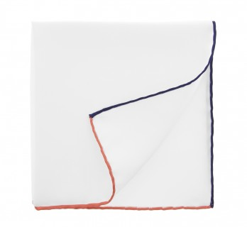 White Pocket Square With Coral and Navy Blue Hemlines - Saint-Tropez