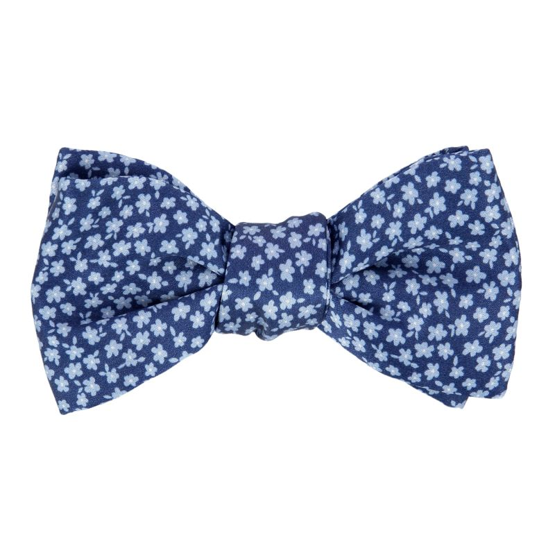 Navy Blue, Green and Yellow Tartan The Nines Bow Tie - Dunbar