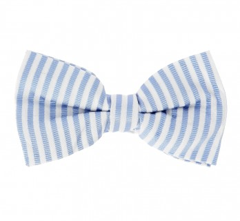 White and Blue Seersucker Bow Tie - Messina