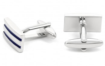 Navy blue rectangular cufflinks - Time Square II
