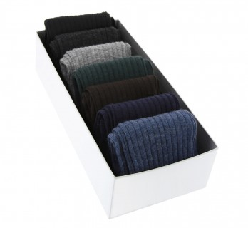 Pack of 7 pairs of wool socks, classical colours