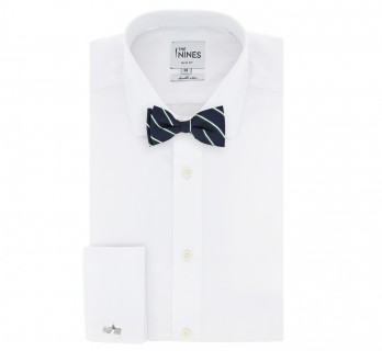 Navyblue Bow Tie with Green and White Stripes - Kingsbridge