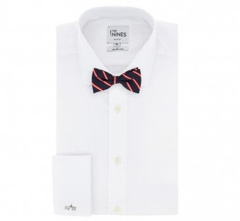 Navyblue Bow Tie with Red and White Stripes - Kingsbridge