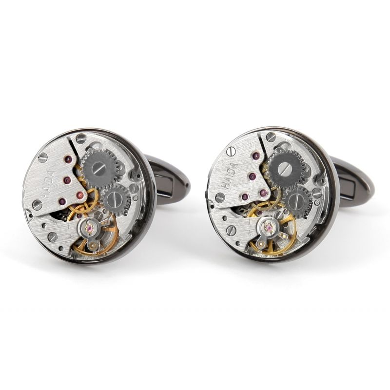 Gunmetal watch movement cufflinks - Bienne II