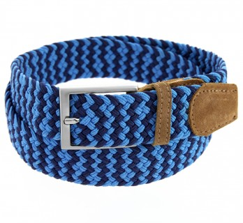 Elastic braided belt in navy blue and blue - Rob II