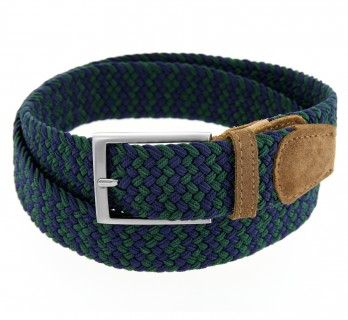 Elastic braided belt in navy blue and green - Rob II