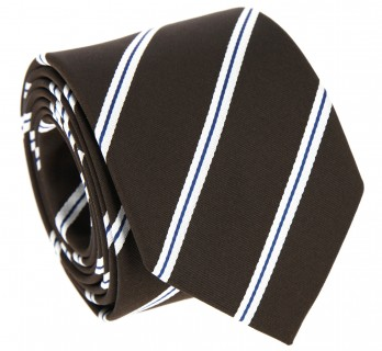 Brown Tie with Navy Blue and White Stripes - Devon