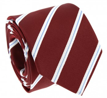 Burgundy Tie with Light Blue and White Stripes - Devon