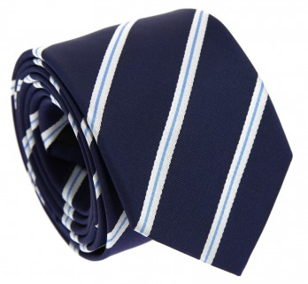 Midnight Blue Tie with Light Blue and White Stripes - Devon