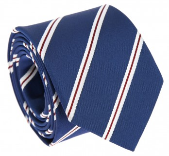 Blue Tie with Red and White Stripes - Devon