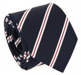 Navy Blue Tie with Red and White Stripes - Devon