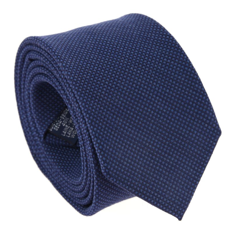 Navy Blue and Grey Silk and Wool Basket Weave The Nines Tie