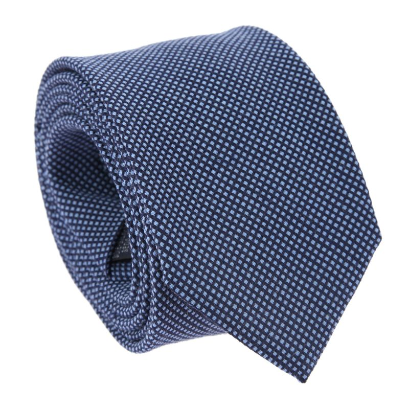 Navy Blue and Blue Silk and Wool Basket Weave The Nines Tie