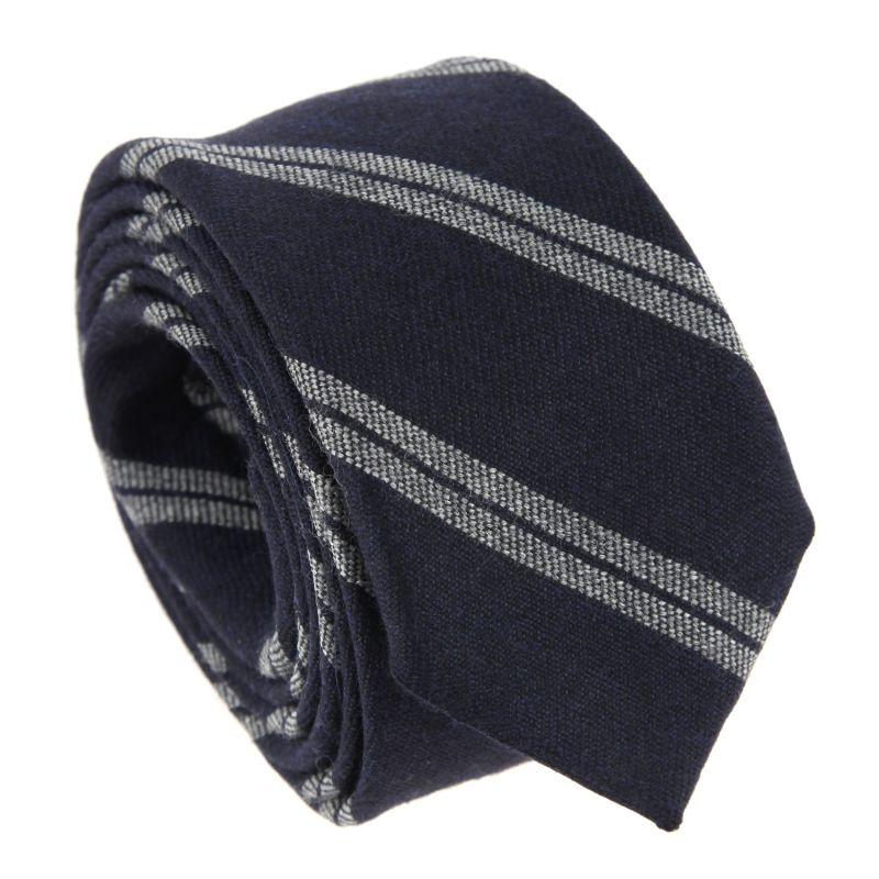 Navy Blue Club Tie with Grey and White Stripes - Bristol - The House of Ties