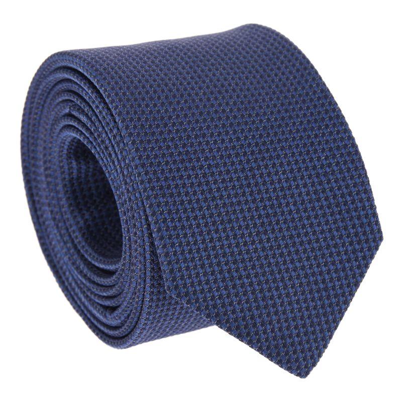 The Nines Navy Blue Semi Plain Tie