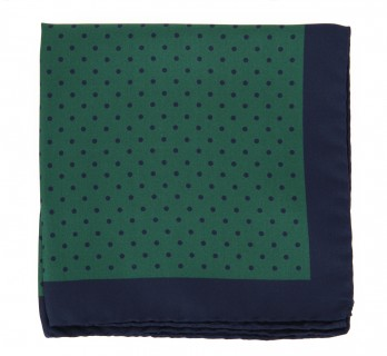 Green Pocket Square With Navy Blue Polka Dots - Greco II