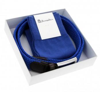 Elastic belt and matching sock pack: blue
