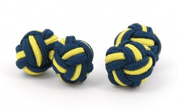 Navy blue and yellow silk knots - Bombay