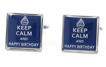 Birthday cufflinks - Keep Calm and Happy Birthday