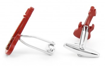 Red guitar cufflinks - Gibson City II
