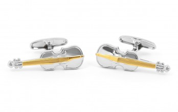 Gold violin cufflinks - Stradivarius