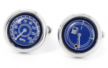 Blue speedometer cufflinks - Dakar