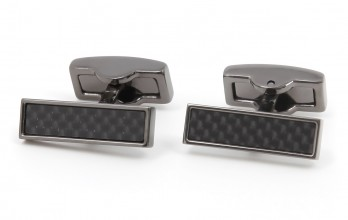 Carbon gunmetal rectangular cufflinks - Michigan