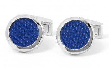 Carbon blue cufflinks - Michigan