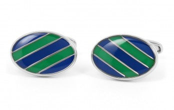 Blue and green oval cufflinks - Windsor II