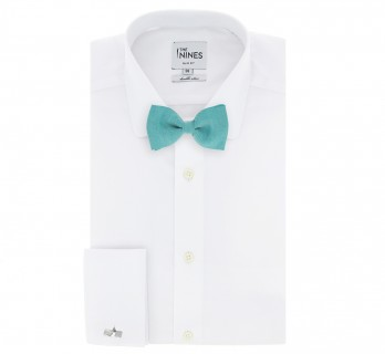 Green Lagoon Basket Weave Linen and Silk Bow Tie - Parme