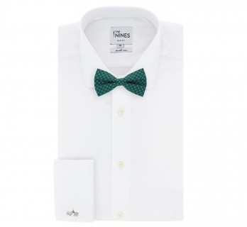 Navu Blue Bow Tie With Green Square Patterns - Venise