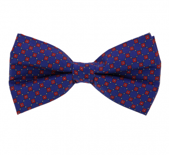 Navu Blue Bow Tie With Red Square Patterns - Venise