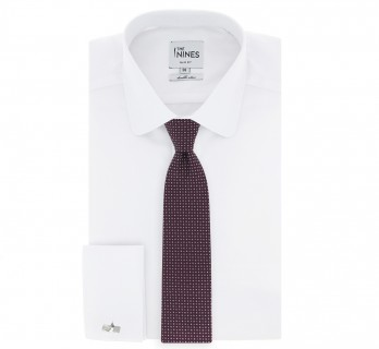 Burgundy The Nines Tie with Square Pattern