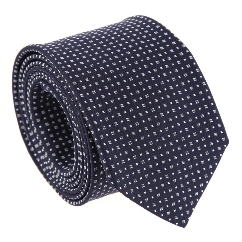 Navy Blue Hugo Boss Tie with square pattern
