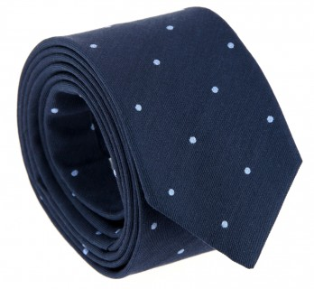 Navy Blue The Nines Tie with Light Blue Dots
