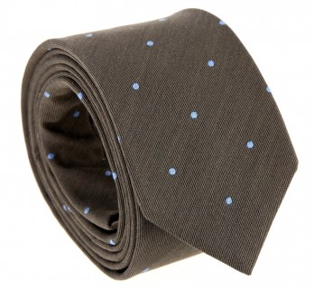 Brown The Nines Tie with Light Blue Dots