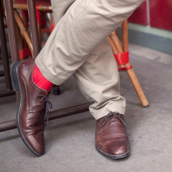 Red scottish lisle thread socks