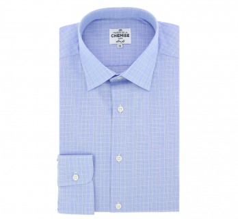 Slim Fit Blue Check Classic Collar Double Cuff Shirt