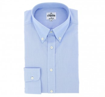 Regular Fit Blue Oxford Button Down Collar Button Cuff Shirt